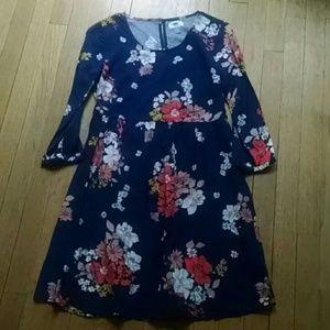 Navy floral dress boho fall xs